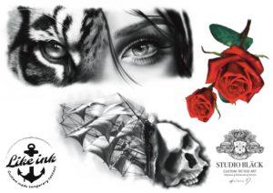 Tatueringsdesign av Helene på Studio Bläck. Köp hennes design i form av engångstatueringar med motiv som ros, döskalle och tigeransikte.