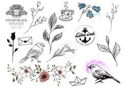 Gnuggisatueringar med motiv av växter, fåglar, grenar och blommor.