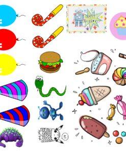 Barntatueringar med motiv anpassade för barnkalas. Engångstatueringar med roliga motiv.